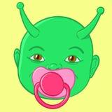 Extraterrestrial green baby head vector illustration
