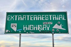 Extraterrestrial Highway sign on SR-375 highway in Rachel, NV. Rachel, Nevada, United States of America - November 21, 2017.  Extraterrestrial Highway sign on Royalty Free Stock Photos