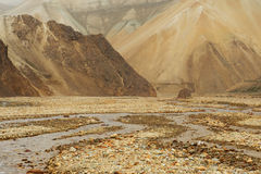 Extraterrestrial landscape with lifeless rocks and river, Icelan Royalty Free Stock Photography