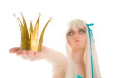 Extraterrestrial queen with crown (focus on crown) Royalty Free Stock Images