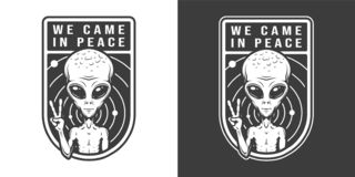 Extraterrestrial showing peace sign emblem. In vintage monochrome style isolated vector illustration royalty free illustration