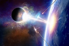 Extraterrestrial space ships attack planet Earth Royalty Free Stock Photo