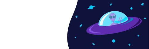Extraterrestrial spacecraft flying saucer with an alien on board against the background of the starry sky of the galaxy. Template. For invitation banners vector illustration
