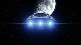 Moon on background, extraterrestrial sci-fi spaceship approaching to natural satellite. Powerful engines pulsate and. Extraterrestrial spaceship on Moon stock video