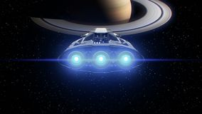 Saturn on background, extraterrestrial sci-fi spaceship approaching to Planet. Powerful engines pulsate and flashing, 3d