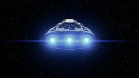 Stars on background, extraterrestrial sci-fi spaceship flies in Space. Powerful engines pulsate and flashing, 3d