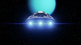 Extraterrestrial spaceship on Uranus background. Uranus on background, extraterrestrial sci-fi spaceship approaching to Planet. Powerful engines pulsate and stock footage