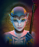 Extraterrestrial woman. 3D computer graphics of a extraterrestrial woman with headdress and choker Royalty Free Stock Images