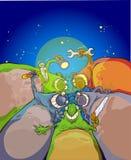 Extraterrestrials auf dem Himmelhintergrund Stockbild