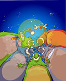 Extraterrestrials on the sky background. stock illustration