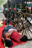 Extratores do riquexó em Kolkata Fotografia de Stock