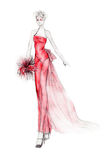 Extravagant Bride Illustration. Fashion illustration of an extravagant bride wearing red Stock Images