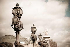 Extravagant bridge in Paris Stock Images