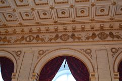 Extravagant Ceiling Tiles. Ornate Ceiling Pattern and Windows in Denmark Royalty Free Stock Photos