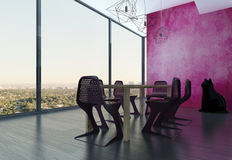 Extravagant dining room interior with pink eyecatching wall Stock Image