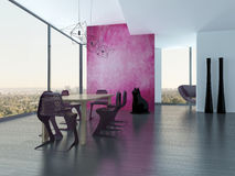 Extravagant dining room interior with pink eyecatching wall Stock Photos