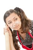 Extravagant emotional housewife Stock Images