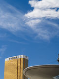 Extravagant gold facade of Trump Hotel and Casino beyond canopy Stock Photo