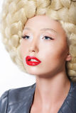 Extravagant Hairstyle. Stylish Woman with Creative Art Trendy Wig Royalty Free Stock Images