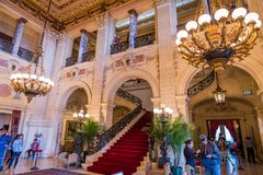 Extravagant houses in america Breakers Mansion. Interior and exterior of Breakers mansion Rhode Island USA Newport stock image