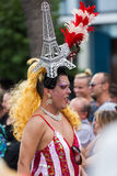 Extravagant person at Gay pride parade in Sitges Royalty Free Stock Photo