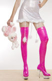 Extravagant pink boots Stock Photos