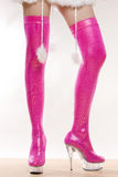 Extravagant pink boots Royalty Free Stock Images