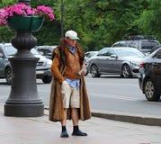 Extravagant promoter-Barker, Nevsky prospect, St. Petersburg, Russia, June 2019. A extravagant promoter-Barker, Nevsky prospect, St. Petersburg, Russia, June royalty free stock photos