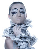 Extravagant woman with dress paper news. Stock Photos