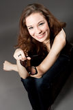 Extravagant young woman smiling Royalty Free Stock Photo