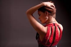 Extravagante vrouw in kleding Royalty-vrije Stock Fotografie