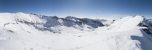 Extrawide alpine panorama in winter with heavy snow stock images