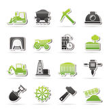 Extrayant et icônes d'industrie d'extraction en carrière Image stock