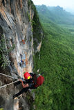 Extream Climber set a camp on the side of a mountain Bigwall .Ka Stock Image