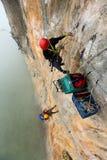 Extream Climber set a camp on the side of a mountain Bigwall .Ka Stock Photography