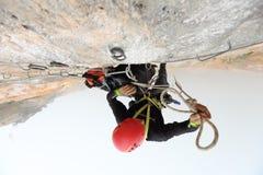 Extream Climber set a camp on the side of a mountain Bigwall .Ka Stock Photos