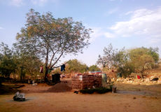 Extream rural life in india. A stand alone small hut and extream rural life in India, located ashoknagar district of Madhya Pradesh Royalty Free Stock Photo