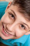 Extreame closeup portrait of a laughing boy Stock Image