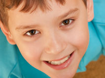 Extreame closeup portrait of a smiling boy Stock Images