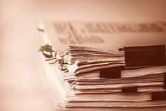 The extreamely close up  report paper stacking of office working Royalty Free Stock Image