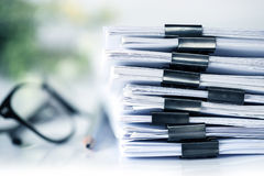 extreamly close up the stacking of office working document with royalty free stock photos