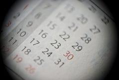 Extreem close-up van persoonlijke kalender stock afbeeldingen