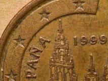 Extreem de close-up macrodetail van muntstuk Euro 1 cent Stock Afbeelding