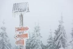 Extreem de winterweer - het teken van de wandelingsweg dat met sneeuw wordt behandeld stock afbeelding