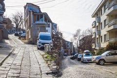 Extreem parkeren op de straat van Plovdiv 2 stock fotografie