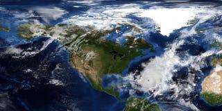 Extrem ausführliche und realistische Illustration 3D eines Hurrikans, der Nordamerika sich nähert Geschossen vom Raum Elemente di stockfotografie