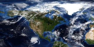 Extrem ausführliche und realistische Illustration 3D eines Hurrikans, der Nordamerika sich nähert Geschossen vom Raum Elemente di stockfoto