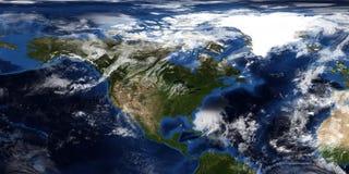 Extrem ausführliche und realistische Illustration 3D eines Hurrikans, der Nordamerika sich nähert Geschossen vom Raum Elemente di lizenzfreie stockbilder