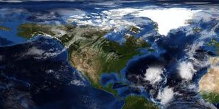 Extrem ausführliche und realistische Illustration 3D eines Hurrikans, der Nordamerika sich nähert Geschossen vom Raum Elemente di stockbild