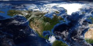 Extrem ausführliche und realistische Illustration 3D eines Hurrikans, der Nordamerika sich nähert Geschossen vom Raum Elemente di lizenzfreies stockbild